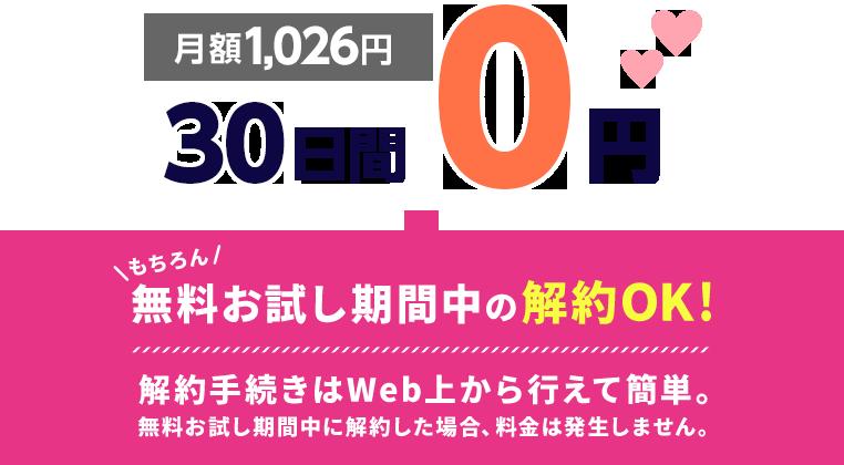 月額1,026円>30日間0円 もちろん 無料お試し期間中の解約OK!解約手続きはWeb上から行えて簡単。無料お試し期間中に解約した場合、料金は発生しません。
