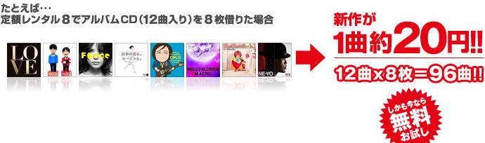 たとえば…定額レンタル8でアルバムCD(12曲入り)を8枚借りた場合 新作が1曲約20円!!