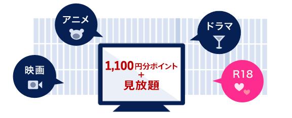 映画・アニメ・ドラマ・R18 1080円分ポイント+見放題